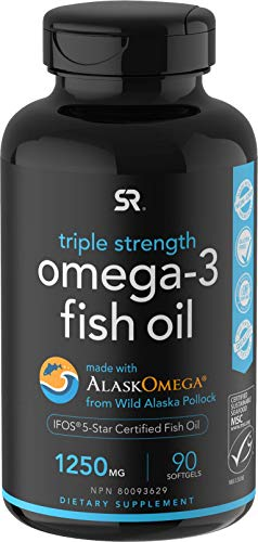 Omega-3 Wild Alaska Fish Oil (1250mg per Capsule) with Triglyceride EPA & DHA | Heart, Brain & Joint Support | IFOS 5 Star Certified, Non-GMO & Gluten Free