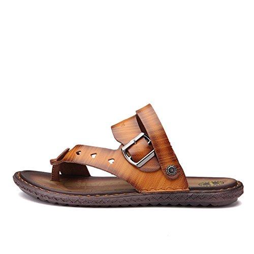 estate Uomini scarpa sandali sandali moda Tempo libero vera pelle sandali Uomini Antiscivolo Spiaggia scarpa ,Marrone1,US=8.5,UK=8,EU=42,CN=43