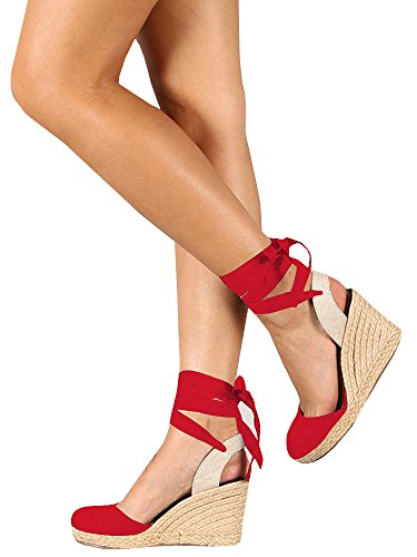 Syktkmx Womens Lace Up Platform Wedge Espadrille Heel Closed Toe Slingback D'Orsay (Linen Slingback)