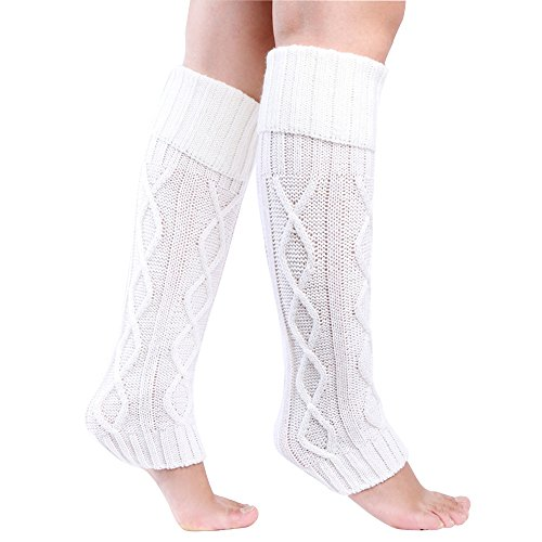 Leg Warmers Acrylic (Eleray Women's Winter Soft Over Knee High Cable Footless Socks Knit Leg Warmers (White))
