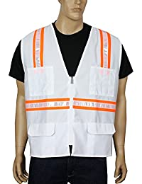 """<span class=""""a-offscreen"""">[Sponsored]</span>Safety Vest High Visibility Reflective Tape with 4 Lower Pockets, 2 Chest Pockets with Pen Dividers 8038-WT (White..."""