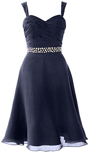 MACloth Elegant Straps Chiffon Cocktail Dress Short Wedding Party Formal Gown Azul Marino Oscuro