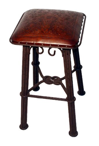 New World Trading Western Iron Barstool, Colonial, Antique Brown