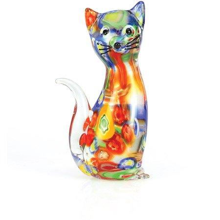 Millefiori Art Glass Cat Figurine (Glass Figurines Collectibles)