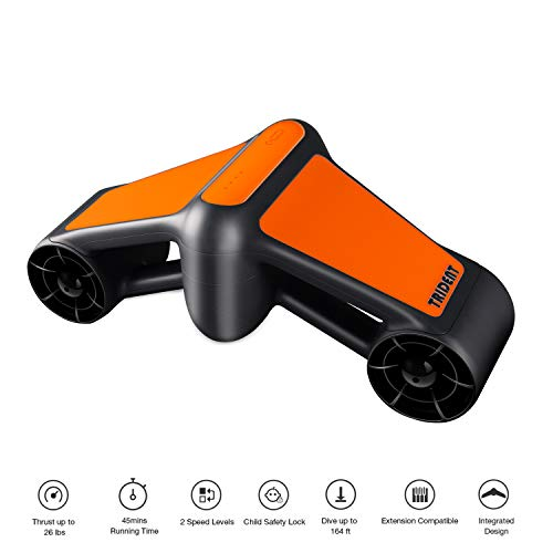 Geneinno Trident Seascooter 164ft 4mph Underwater Scooter 2 Speed Snorkeling Scuba Diving Go Pro Compatible