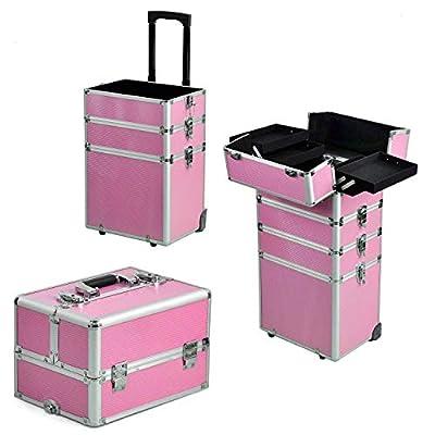 gootrades Aluminum Rolling Cosmetic Makeup Train Cases, 4-Wheel Trolley Organizer Box,Professional Artist Train Case