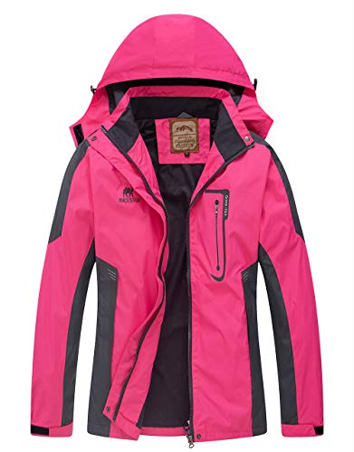Diamond Candy Waterproof Rain Jacket Women Lightweight Outdoor Raincoat Hooded for Hiking Hot Pink XXL