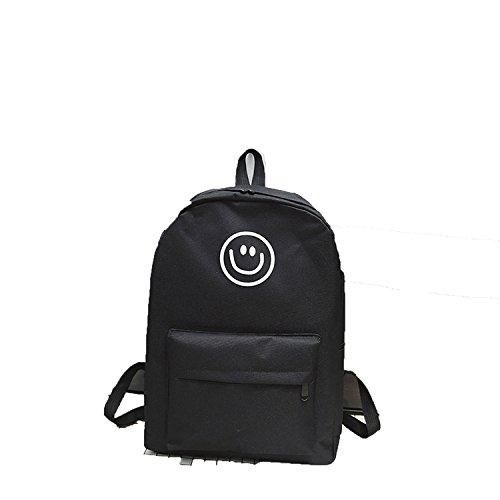 Price comparison product image B dressy new canvas smiley shoulder bag women's casual double backpack college student bags, black