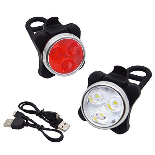 Wiederaufladbare Fahrrad Rücklicht Scheinwerfer Lampensets für Nacht Radfahren - Mountainbike USB Wasserdichte Licht & Sicherheits Warnlampe für Stadt/Rennrad/Mountainbike (MTB)/BMX, iParaAiluRy