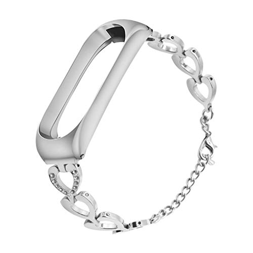 Clearance Sale!DEESEE(TM)for Xiaomi Mi Band 3 Stainless Steel Bracelet Diamond Smart Watch Band Strap (Silver)