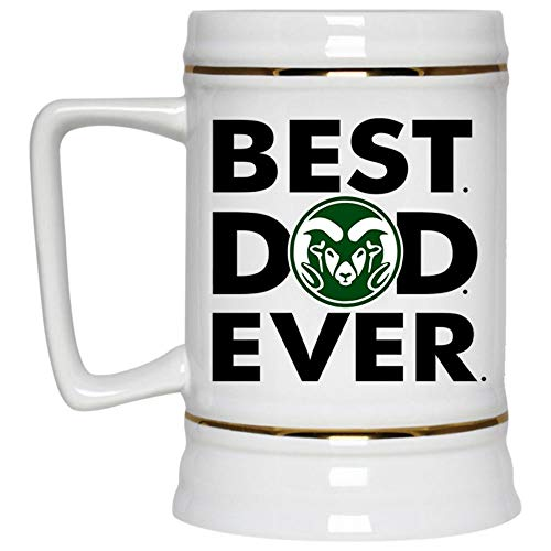 Best Dad Ever Beer Mug, Colorado State Rams Logo Beer Stein 22oz, Birthday gift for Beer Lovers (Beer Mug-White)