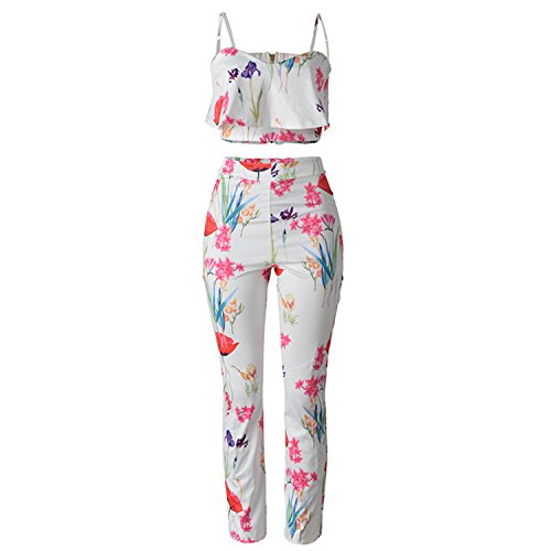 nboba Two Piece Floral Jumpsuits Fitness Clothes Women Jumpsuit 2 S by nboba jumpsuits