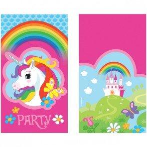 8 Einladungskarten REGENBOGEN EINHORN Für Kindergeburtstag Und Motto Party  // Einladungen Unicorn