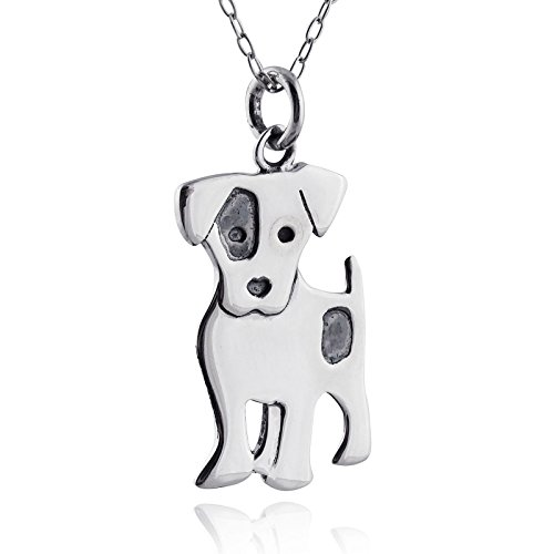 Russell Jack Necklace (Sterling Silver Jack Russell Terrier Dog Pendant Necklace, 18