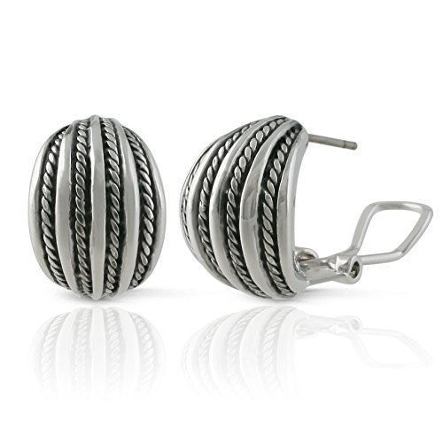 JanKuo Jewelry Rhodium Plated Twisted Rope Half Semi Hoop French Clip ()