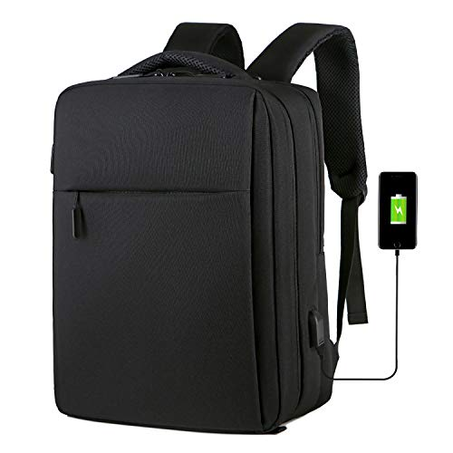 (Business USB Charging Backpack, Anti theft Laptop bag Fits 14 15 15.6 Inch Notebook, Water Resistant Computer Carrying On Bag Daypack for Women & Men, Black)