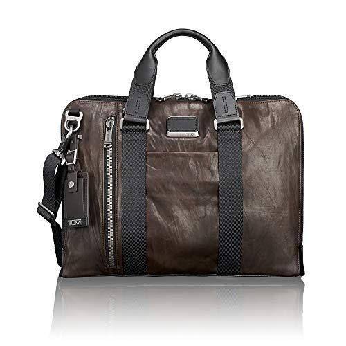 TUMI - Alpha Bravo Aviano Leather Laptop Slim Brief Briefcase - 15 Inch Computer Bag for Men and Women - Dark Brown