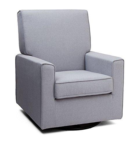 Delta Furniture Eva Upholstered Glider Swivel Rocker Chair, Heather Grey by Delta Children