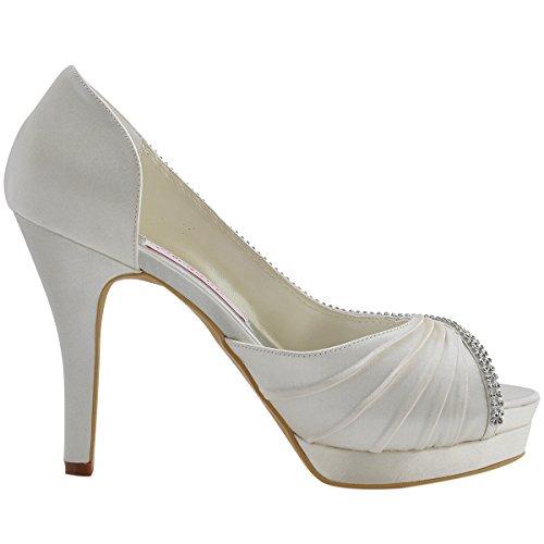 Elegantpark Femmes Haut Talon Pompes Plate-forme Peep Toe Dorsay Plissé Satin Soir Bal Chaussures De Mariage Ivoire
