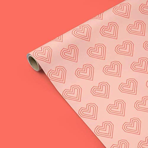 Geometric Line Heart Wrapping Paper - Red & Pink - Valentines Day, Mothers Day, Red, White, Baby Shower, Birthday, Bridal Shower, Wedding, Modern, Boy, Scrapbooking, Craft Paper ()