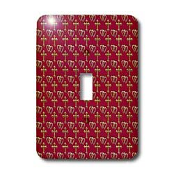 - 3dRose lsp_35986_1 Small gold entwined hearts and cross on a maroon or burgundy background. Single Toggle Switch
