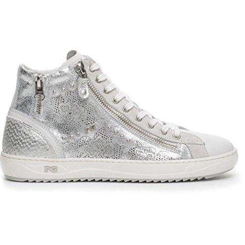 NERO GIARDINI P717241D/707 Sneaker pelle BIANCO Luxury Silver 36