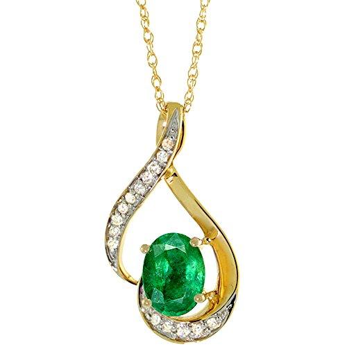 14K Yellow Gold 0.07 cttw Diamond Natural Emerald Pendant Oval 7x5 mm, 3/4 inch (Yellow Gold Emerald Pendant)