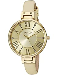 SO&CO New York Womens 5091.1 SoHo Champagne Leather Strap Watch