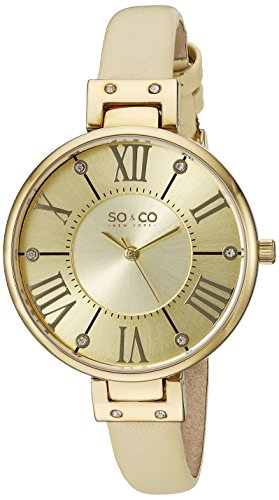 SO&CO New York Women's 5091.1 SoHo Champagne Leather Strap - Ny Soho Shops