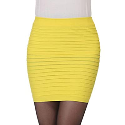 Hatop Fashion Womens Elastic Pleated High Waist Package Hip Short Skirt