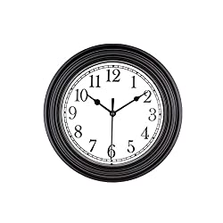 Foxtop 9 inch Quartz Decorative Classic Clock Vintage Non Ticking Wall Clock, Black