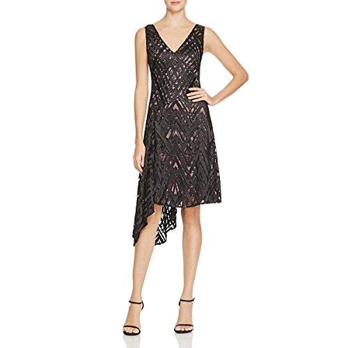 Aidan Mattox Womens Lace Overlay Asymmetrical Cocktail Dress Black 12