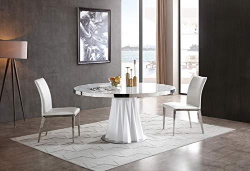 - Limari Home LIM-75106 Clementini Collection Modern Style Glass Round Dining Table with High Gloss Finished Pedestal, Polished Stainless Steel Base & Frame, White