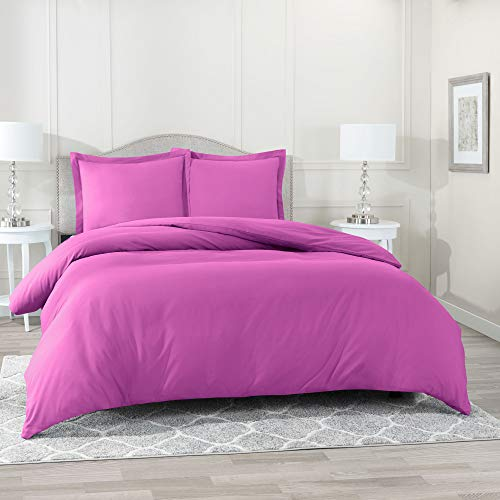 Nestl Bedding Duvet Cover 3 Piece Set - Ultra Soft Double Brushed Microfiber Hotel Collection - Comforter Cover with Button Closure and 2 Pillow Shams, Orchid Purple - Queen 90