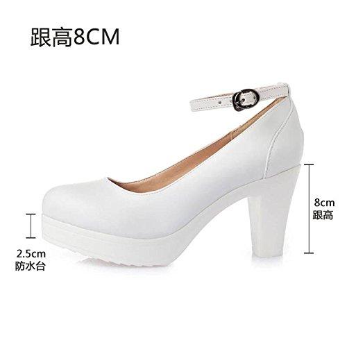 con spessore testa alta con femmina di alti tacchi con Taiwan cinghia impermeabile modello i 8cm scarpe T rotonda yalanshop scanalata solo 32 scarpe dello bianco scarpe Cuoio bianco Fwq75Z