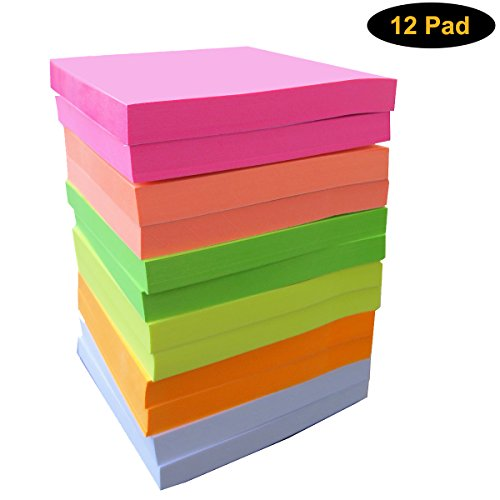 Self Sticky Notes Bright Color12 Pads per Pack, 3 x 3 Inches, 80 Sheets per Pad , 6 Colors, Easy Post Notes, Individually Wrapped, Easy Post, Red Pink Green Yellow Orange (Bright White Note)
