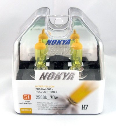 Nokya H7 Arctic Hyper Yellow Stage 1 2500K Halogen Headlight / Fog Light Bulb (Nokya Pro Halogen Light Bulb)