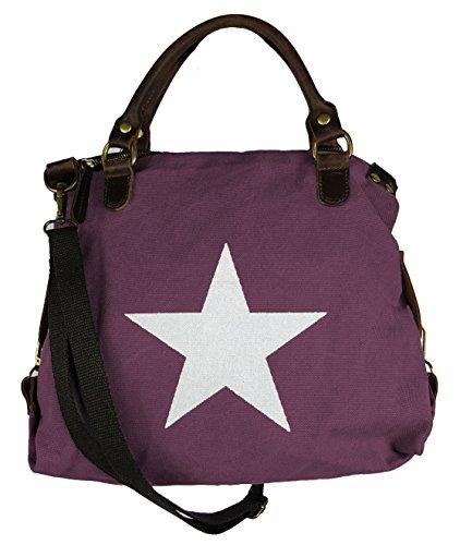 VERA PELLE - Made in Italy Canvas Echtleder Damentasche Shopper Henkeltasche 3 Größen * Stern * Lila - M 15QPKb7qxB