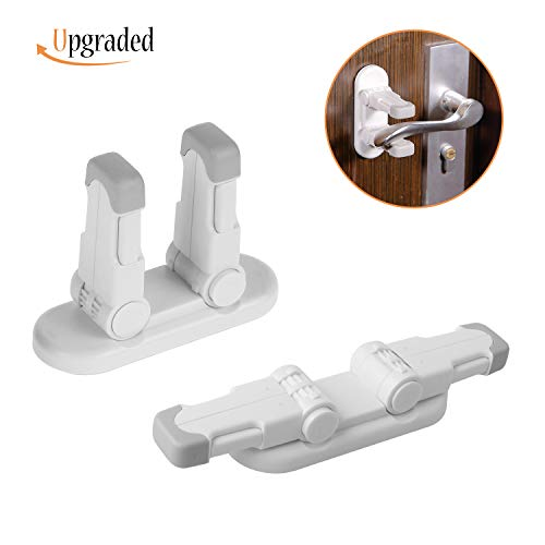 IFELISS Upgraded Door Lever Lock (2 Pack) Childproof Door Handle Locks Child Safety Locks | Advanced Double Locks Design | Stronger 3M Adhesive| Simple Installation | No Tools Needed