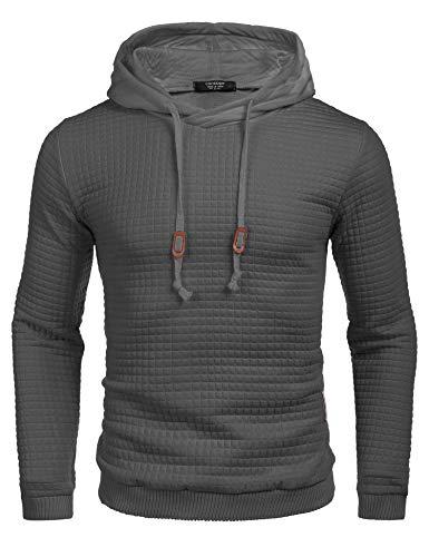 Classic Drawstring Sweatshirt - COOFANDY Men's Sweatshirt Hipster Gym Long Sleeve Drawstring Hooded Plaid Jacquard Pullover Hoodies(Dark Gray,S)