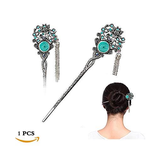 STAR-TOP Chinese Hair Chopsticks Hair Decor Crystal Rhinestone Hair Pins Tulip Hair Clip Metal Hair Stick Jewelly -