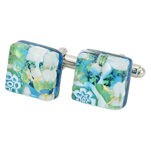 Glass Venetian Classic Square Cufflinks - Aqua Gold ()