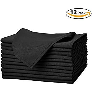"Remedios Set of 12 Oversized 20x20"" Durable Solid Polyester Napkins Wedding Restaurant Banquet Home, Black"