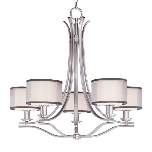 Maxim Lighting 23035SWSN Orion 5-Light Chandelier, Satin Nickel Finish with Satin White Glass and Sheer Fabric Shade