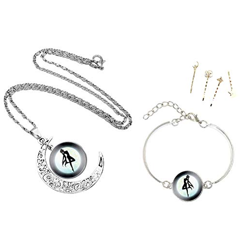 RF Women's 3PCS Accesories Set (Necklace with Pendant, Anklet Bracelet with Pendant Chain, Metal Hair Bobby Pin Pins) Anime Sailor Moon Glass Chain Jewelry for Girls - Pin Girl Sailor