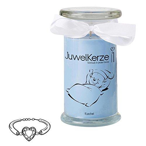 """JuwelKerze""""Kuschel Kerze - Duftkerze im Glas mit Schmuck Überraschung aus Silber (Armband)"""