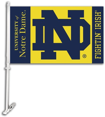 NCAA Notre Dame Fighting Irish Car Flag ND Logo with Free Wall Bracket