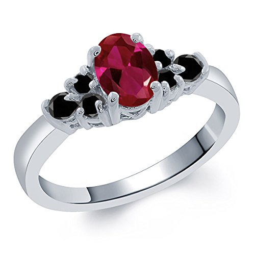 0.88 Ct Oval Red Created Ruby Black Diamond 925 Sterling Silver Ring
