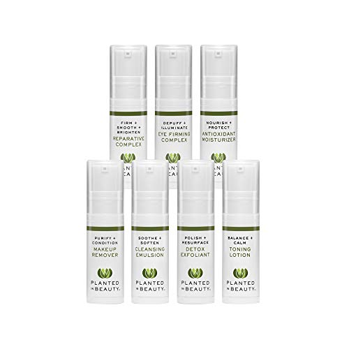 Organic Skin Care Travel Kit - Luxury Natural Face Cleansing Oil, Wash, Exfoliator, Toner, Moisturizer & Serum - Certified Vegan, Cruelty Free & Organic (7 Piece Travel-Sized Set) by Planted in Beauty