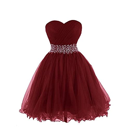 KARMA PROM Womens Sweetheart Tulle Cocktail Dress Homecoming Dress US2 Burgundy